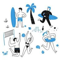 Hand drawn people on the beach vector