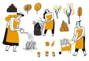 Hand drawn set of women gardening