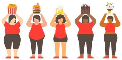 Obese Woman and Junk Food vector