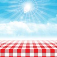 Gingham picnic table against blue cloudy sky  vector