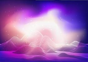 Abstract wireframe landscape design with galaxy  vector