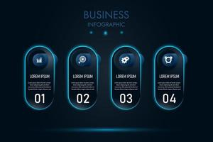 Blue neon capsule nusiness infographic template vector