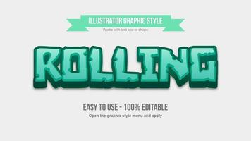 Green 3d bold stone pattern cartoon text effect vector