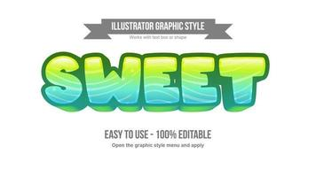 Bright green and blue waves pattern cartoon text effect vector