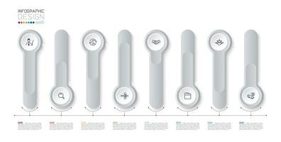 Silver 3d long circle label infographic vector