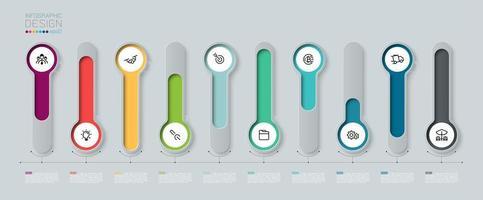 Infografía con etiqueta colorida de círculo largo 3d vector