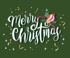 Merry Christmas lettering and confetti
