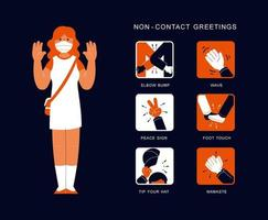 Non-contact greetings chart vector