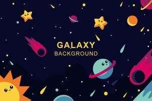 Galaxy design with happy planets and stars