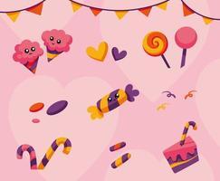 colección de caramelos de colores vector