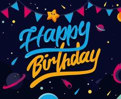 Space themed happy birthday design vector