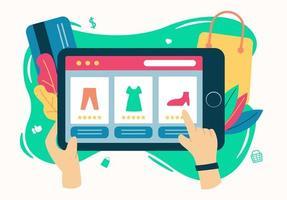 concepto de diseño de estilo plano minorista en línea