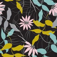 Chic floral pattern on black background vector