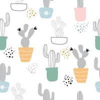lindo cactus dibujado a mano de patrones sin fisuras vector