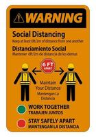 Warning Bilingual Social Distancing Construction Sign