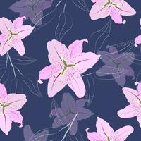 Pink lily flowers seamless pattern vector