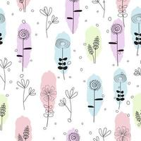 Cute hand drawn pastel floral seamless pattern vector