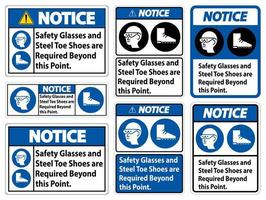 Safety Glasses And Steel Toe Shoes Sign Set