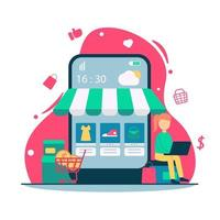 concepto de compras en línea de comercio electrónico