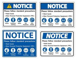 Please follow standard precautions sign set  vector