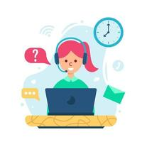 Customer service concept in flat style design