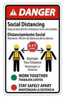 ''Danger'' Bilingual ''Social Distancing'' Construction Sign