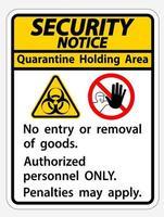 ''Security Notice Quarantine Holding Area'' Sign vector