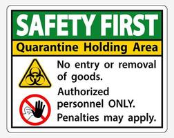 ''Safety First Quarantine Holding Area'' Sign vector