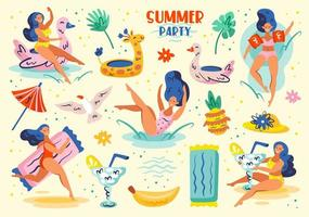 Woman in Swimsuit Having Fun at Summer Party Set vector