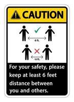 Yellow, Black Caution Keep 6 Feet Distance vector