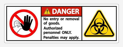 ''Danger'' Quarantine ''Authorized Personnel ONLY'' Sign vector