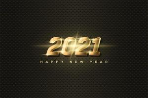 Background 2021 with luminous 3d gold numbers.