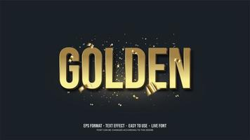 Golden Text effect with 3d writing in gold. vector