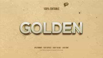 Text effect with silver and gold 3d writing vector