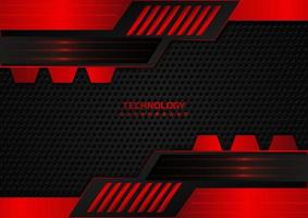 Abstract technology geometric red and black background