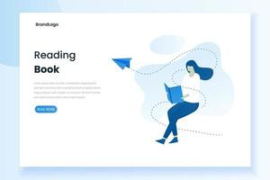 Landing page of a woman reading a book