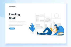Woman reading a book landing page