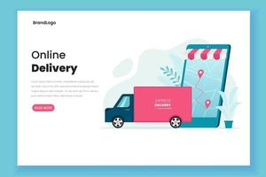concepto de servicio de entrega página de inicio