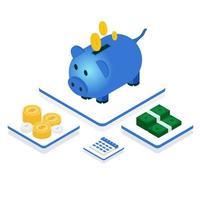 concepto de ahorro de cerdo isométrico dinero
