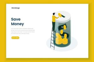 Save money  landing page template vector