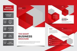 Red and white corporate bi-fold brochure vector