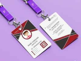 modelo de cartão de identidade com design vermelho e cinza