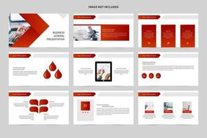White and red business slide presentation vector