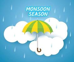 Monsoon season design with umbrella over clouds vector