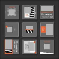Grey and Orange Social Media Post Set vector