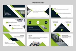 White and green business presentation slide set vector