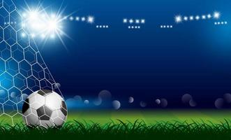Soccer ball in goal on grass vector