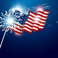 Bandera de Estados Unidos en poste con fuegos artificiales en azul