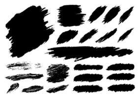 Black paint brush stroke set