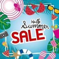 Summer sale banner with elements around frame vector